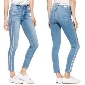 NWT PAIGE Blue Silver Tux Stripe Jeans